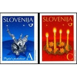 2 عدد تمبر کریستمس - خودچسب - اسلوونی 2010