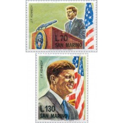 2 عدد تمبر سالگرد مرگ جان اف کندی - رئیس جمهور آمریکا- سان مارینو 1964