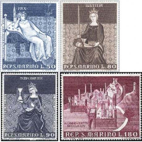 4 عدد تمبر نقاشیهای دیواری در سیه نا - سان مارینو 1969