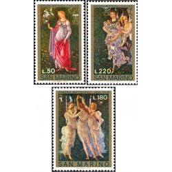 3 عدد تمبر تابلو نقاشی - سان مارینو 1972