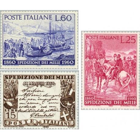 3 عدد تمبر صدمین سالگرد آزادسازی ایتالیای جنوبی - ایتالیا 1960