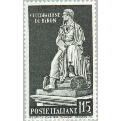 1 عدد تمبر پرده برداری از مجسمه لرد بایرن - شاعر و سیاستمدار - ایتالیا 1959