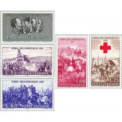 5 عدد تمبر صدمین سال جنگ استقلال - ایتالیا 1959