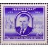 1 عدد تمبر نسخه دوستی آلمان چک اسلواکی  - کلمنت گوتوالد رییس جمهور چک - جمهوری دموکراتیک آلمان 1952 با شارنیه - قیمت 4.4 دلار