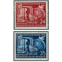 2 عدد تمبر نمایشگاه لایپزیک - جمهوری دموکراتیک آلمان 1952 با شارنیه - قیمت 5.5 دلار