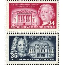 2 عدد تمبر معماران - نوبلسدورف و نیومان - جمهوری دموکراتیک آلمان 1953 با شارنیه - قیمت 5 دلار