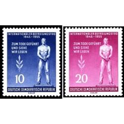 2 عدد تمبر دهمین سالگرد آزادی - جمهوری دموکراتیک آلمان 1955 با شارنیه
