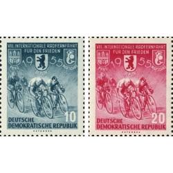 2 عدد تمبر دوچرخه سواری صلح پراگ برلین ورشو - جمهوری دموکراتیک آلمان 1955