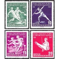 ۴ عدد تمبر جشنواره ورزش و ژیمناستیک در لایپزیک - جمهوری دموکراتیک آلمان 1956 با شارنیه قیمت ۴.۲ دلار