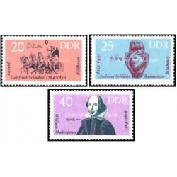 3 عدد تمبر هنرمندان مشهور - شکسپیر - جمهوری دموکراتیک آلمان 1964