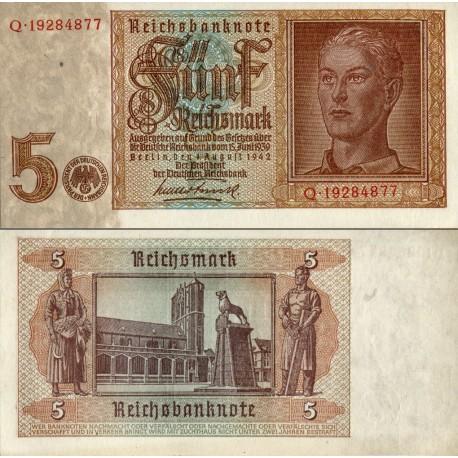 اسکناس 5 مارک - رایش بانک - رایش آلمان 1942  سریال 8 رقمی