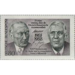 1 عدد تمبر 25مین سالگرد عهدنامه آلمان و فرانسه - جمهوری فدرال آلمان 1988