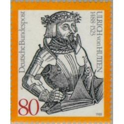 1 عدد تمبر پانصدمین سال تولد اولریچ فون هوتن - هیومنیست - جمهوری فدرال آلمان 1988