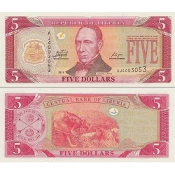 اسکناس 5 دلار - لیبریا 2011 تک
