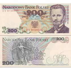 اسکناس 200 زلوتیچ - لهستان 1988 تک