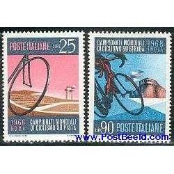 2 عدد تمبر مسابقات قهرمانی دوچرخه سواری - ایتالیا 1968
