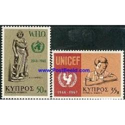 2 عدد تمبر سازمان بهداشت انی و یونیسف - قبرس 1968