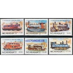 6 عدد تمبر راه آهن - لوکوموتیوها - نیکاراگوئه 1985