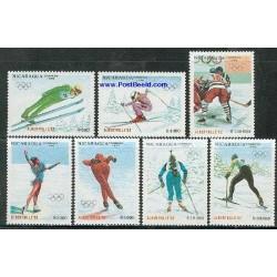 7 عدد تمبر بازیهای المپیک زمستانی - آلبرتویل - نیکاراگوئه 1990