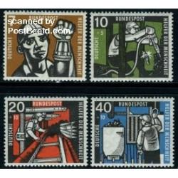 4 عدد تمبر رفاه اجتماعی - معدنچیان - آلمان 1957