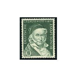 1 عدد تمبر کارل فردریش گاوس - ریاضیدان - جمهوری فدرال آلمان 1955 قیمت 6.7 دلار
