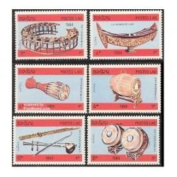 6 عدد تمبر آلات موسیقی - لائوس 1984