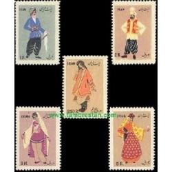 972 - 5 عدد تمبر لباسهای محلی ایران 1334 تک