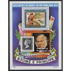 سونیرشیت بدون دندانه سر رولند هیل - با تصویر اولین تمبر پستی - سائوتام و پرینسیپ 1980