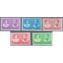 780 - 5 عدد تمبر عروسی محمدرضا پهلوی و فوزیه  1318 با شارنیه