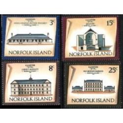 4 عدد تمبر سری پستی - معماری - جزایر نورفولک 1973