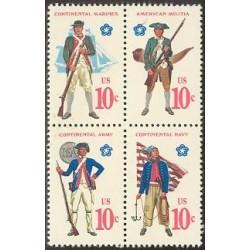 4 عدد تمبر یونیفرمها - آمریکا 1975