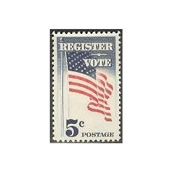 1 عدد تمبر ثبت نام رای - آمریکا 1964