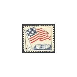 1 عدد تمبر پرچم و کاخ سفید - آمریکا 1963