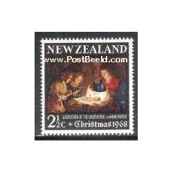 1 عدد تمبر کریستمس - تابلو نقاشی اثر جرارد ون هانتورست - نیوزلند 1968