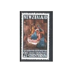 1 عدد تمبر کریستمس - تابلو نقاشی اثر پوسین - نیوزلند 1967