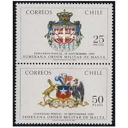 2 عدد تمبر Malteser order - شیلی 1983