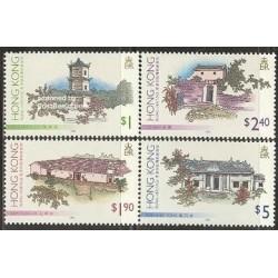 4 عدد تمبر بناهای سنتی - هنگ کنگ 1995