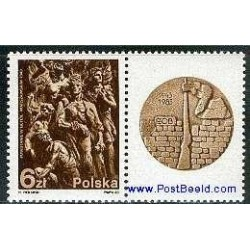 1 عدد تمبر شورش گتوی ورشو با تب - لهستان 1983
