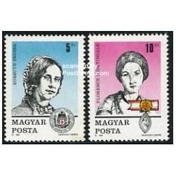 2 عدد تمبر روز تمبر - فلورانس نایتینگل ، کسوس سوسا - مجارستان 1989