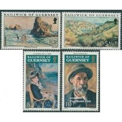 4 عدد تمبر تابلو نقاشی اثر رنیور - گورنزی 1974