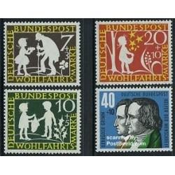 4 عدد تمبر افسانه های گریم - جمهوری فدرال آلمان 1959