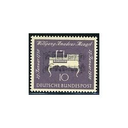 1 عدد تمبر موزارت - جمهوری فدرال آلمان 1956