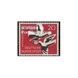 1 عدد تمبر هفته بین المللی نامه نگاری - جمهوری فدرال آلمان 1957
