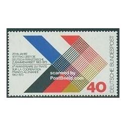 1 عدد تمبر همکاری آلمان و فرانسه - جمهوری فدرال آلمان 1973