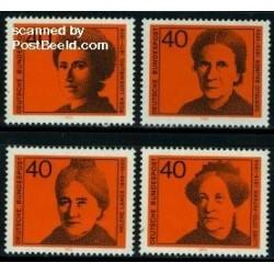 4 عدد تمبر زنان نامدار - جمهوری فدرال آلمان 1974