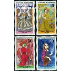 4 عدد تمبر زنان در تئاتر - جمهوری فدرال آلمان 1976