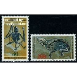 2 عدد تمبر باستان شناسی - فسیلها - جمهوری فدرال آلمان 1978