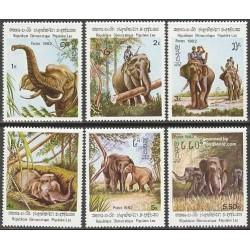 6 عدد تمبر فیلها - لائوس 1982