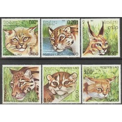 6 عدد تمبر گربه های وحشی و گربه سانان - لائوس 1981