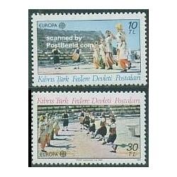 2 عدد تمبر مشترک اروپا - Europa Cept - فورکلور - قبرس ترکی 1981